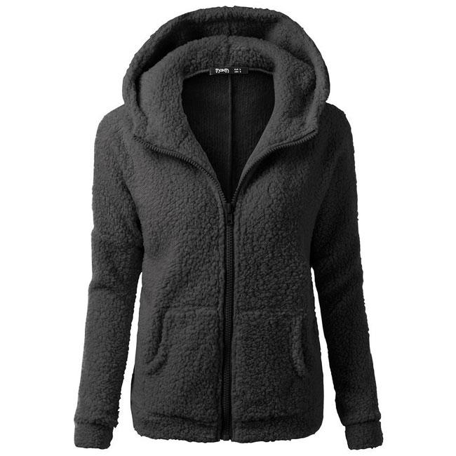 New Women's Winter Lambswool Zipper Outwear Hoodies Plus Size Ladies Pullover Warm Hooded Sweatshirt For Big Sale!- cutespree.com