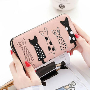 Cute Long Cat Wallet Purse Kitten Animal Clutch Bags For Big Sale!- xikeoo.com