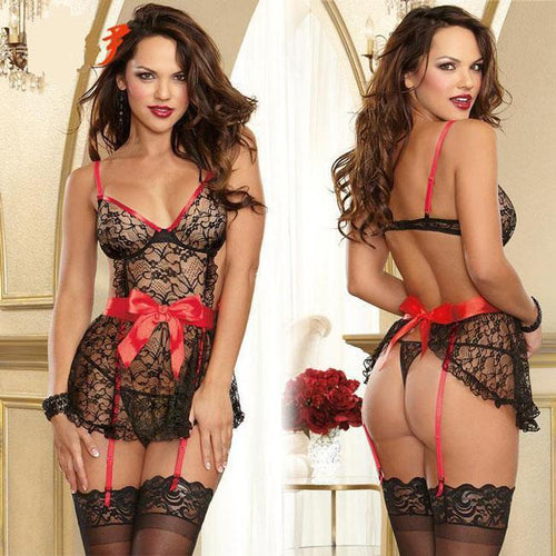 Sexy See Through Lace Splicing Silk Bowknot Black Splicing Red Backless Dress  Women's Cosplay Underwear Sleepwear Lingerie For Big Sale!- xikeoo.com