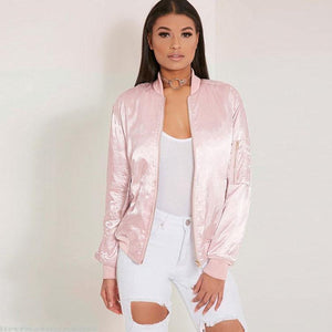 Women's Cotton Candy Color Pink Bomber Jacket For Big Sale!- xikeoo.com
