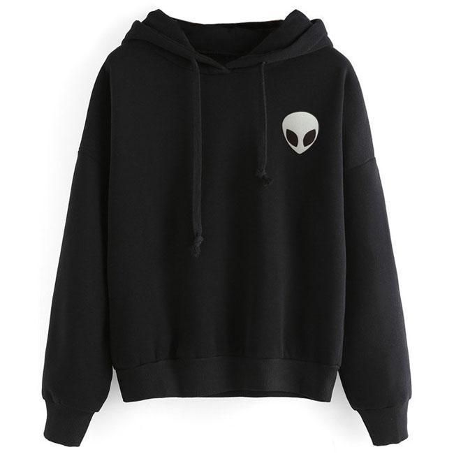 Solid Alien Gun Printing Hoodie Pullover Long Sleeves Women Sweater For Big Sale!- cutespree.com