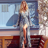 Women's Long Sleeves Bohemian Printing Sun Block Blouson Full-length Dress With Belt For Big Sale!- cutespree.com