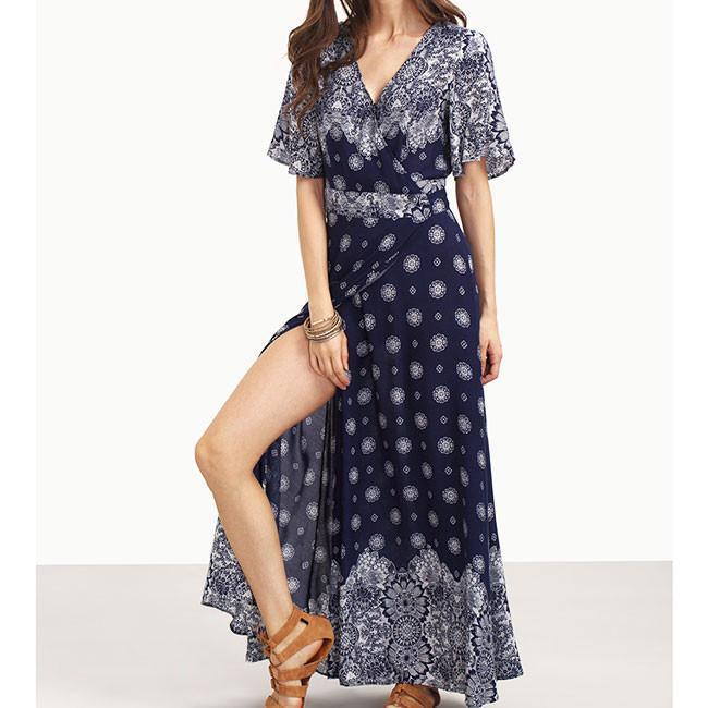 Women's V-neck Long Sleeves Bohemian Printing Full-lengh Dress With Belt For Big Sale!- cutespree.com