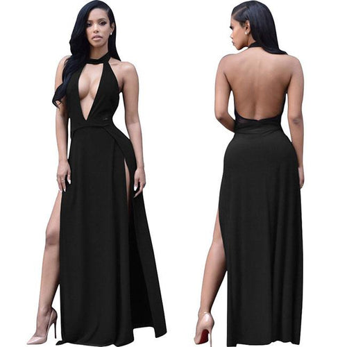 Sexy Halter Deep V Split Backless Women Party Long Dress For Big Sale!- xikeoo.com