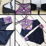 Abstract Owl Print Bikini Split Swimsuit For Big Sale!- cutespree.com