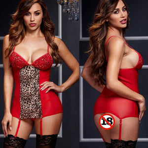 Sexy Perspective Sling Pajamas Leopard Night Gown Nightdress Women Intimate Lingerie