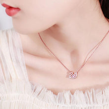 Load image into Gallery viewer, Romantic Swan Pink Lover Gift Women Necklace Crystal Rhinestone Pendant Silver Necklace