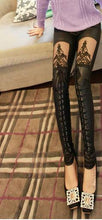 Load image into Gallery viewer, Nice Leatherette Straps Crochet Lace Leggings - xikeoo