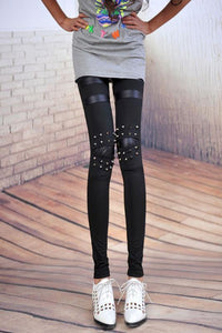 Vintage Personality Rivet Leather Leggings For Big Sale!- xikeoo.com