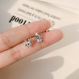 Lovely Elk Female 925 Silver Mini Animal Deer Crystal Lady Earring Studs