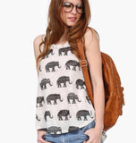 Elephant Printing Irregular Round Neck Sleeveless Vest T-shirt - cutespree