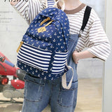 Fresh Navy Anchor Trunk Stripe Dot School Travel Bag Student Canvas Backpack For Big Sale!- cutespree.com