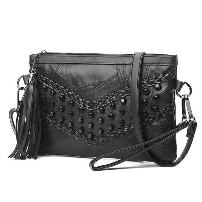 Leisure Weave Ladies Leather Braided Rivets Handbags Messenger Bags Shoulder Bag For Big Sale!- cutespree.com