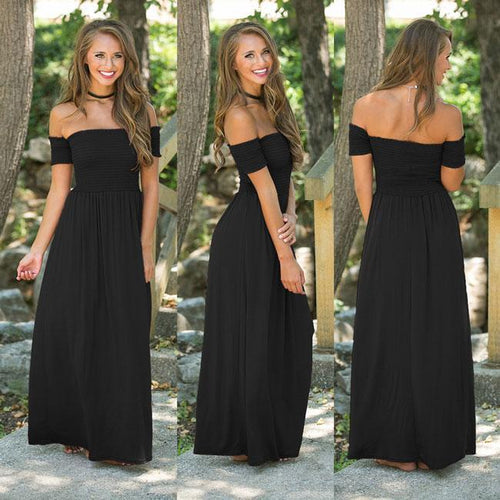 Sexy Backless Shoulder Party Dresses Pure Color Sexy Long Club Summer Dress For Big Sale!- xikeoo.com