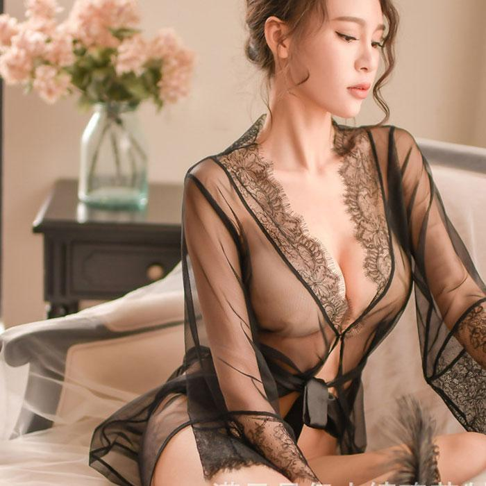 Sexy Nightdress Pajamas Loose Mesh Robe Lace Bandage Lady Intimate Lingerie