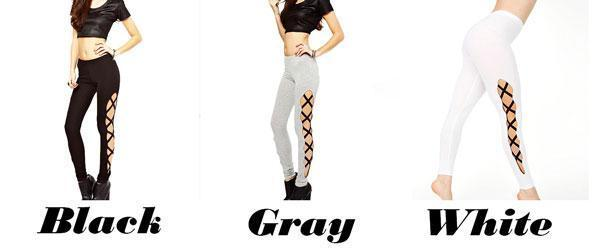 Sexy Girl's Side High Slit Cross Lines Lace-up Ninth Skinny Leggings For Big Sale!- cutespree.com