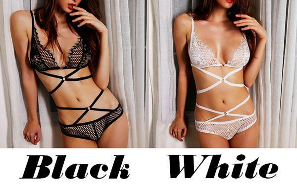 Sexy Lady's V-neck Lace Hollowed-out See Through Temptation Bundling Backless Lingerie For Big Sale!- cutespree.com