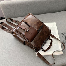 Load image into Gallery viewer, Vintage Soft Leather Irregular Pocket Multi-function Shoulder Bag School Bag Backpack