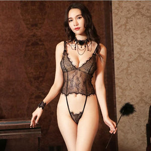 Sexy Backless Lace Conjoined Pajamas Transparent Women Sling Intimate Lingerie