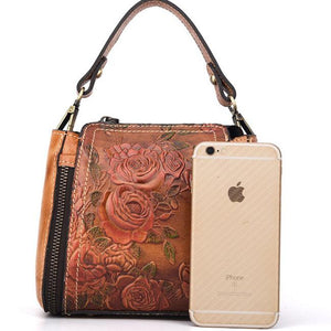 Retro Handmade Flower Embossed Crossbody Bag Handbag Leisure Leather Rose Shoulder Bag