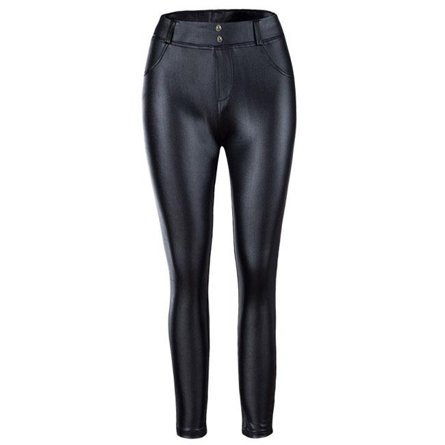 Sexy Show Out Black Shape-flaunting Peach Hips Leather Skinny Girl's Leggings For Big Sale!- cutespree.com