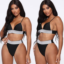 Load image into Gallery viewer, Sexy Belt Bikini High Waist Sling Flash Drilling Summer Swimsuit