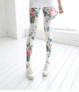 Vintage Latest Floral Print Graffiti Leggings For Big Sale!- xikeoo.com