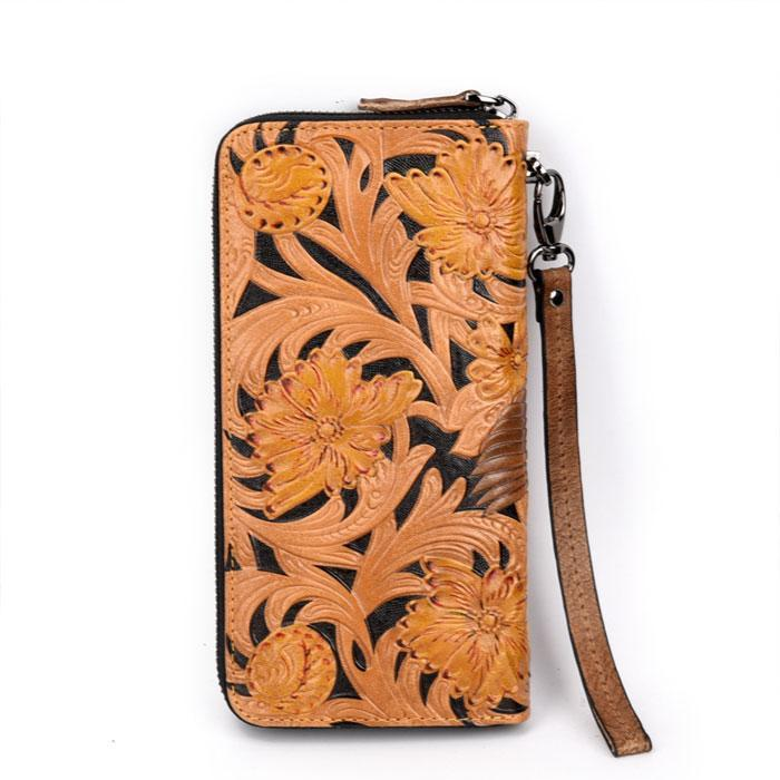 Retro Embossing Leather Carving Cowhide Relief Large Yellow Flower Bird Clutch Bag Men's wallet