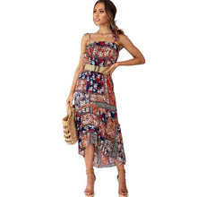 Load image into Gallery viewer, Fashion Bohemia Flower Halter Strap Beach Holiday Long Summer Dress