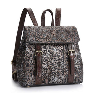 Retro Handmade Real Leather Double Buckle Flower 3D Carved School Backpack