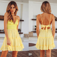 Load image into Gallery viewer, Leisure Hook Flower Fold Stitching Backless Sling Summer Dress