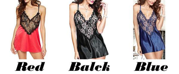Sexy Women's V-neck See Through Lace Splicing Silk Backless Dress Slip Dress Underwear Baby Doll Sleepwear Lingerie For Big Sale!- cutespree.com