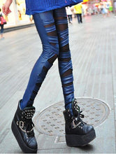 Load image into Gallery viewer, Fashion Straps Mesh Leather Lace Leggings - xikeoo