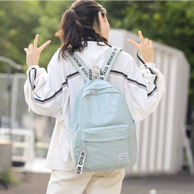 Fresh Waterproof Pure Color Letters Belts School Bag Young Simple Travel Backpack