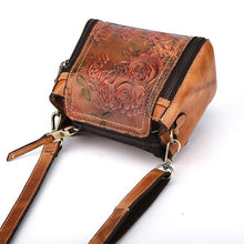 Load image into Gallery viewer, Retro Handmade Flower Embossed Crossbody Bag Handbag Leisure Leather Rose Shoulder Bag