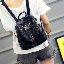 Load image into Gallery viewer, Leisure Black Soft Leather Shoulder Bag Multifunction Rivet School Backpacks
