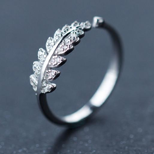 Cute Diamond-bordered Silver Feather Pure Leaves Shape Open Ring For Big Sale!- cutespree.com