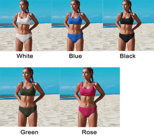 New Pure Color Folds Summer Swimsuit Simple Bikini