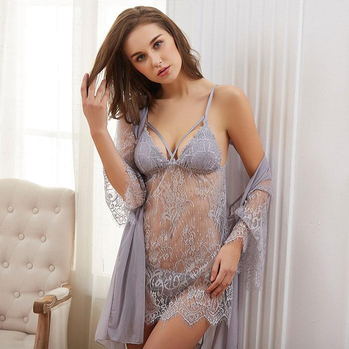 Sexy T-pants Nightgown Robe Nightdress Hollow Lace 3 piece Set Pajamas Women Intimate Lingerie