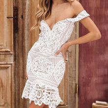 Load image into Gallery viewer, Sexy Hollow V Shape Wrapped Bust Lace Party Summer Dress