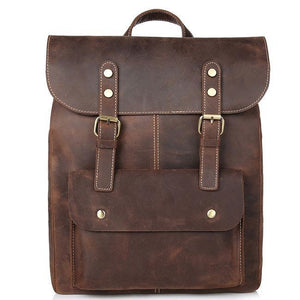 Retro Real Leather Double Buckle British Style  Leisure Handmade Travel Bag Large School Backpack