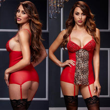 Load image into Gallery viewer, Sexy Perspective Sling Pajamas Leopard Night Gown Nightdress Women Intimate Lingerie