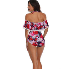 Load image into Gallery viewer, Sexy Cross Collar High Waist Bikinis Sling Flower Leaves Printing Summer Swimsuit