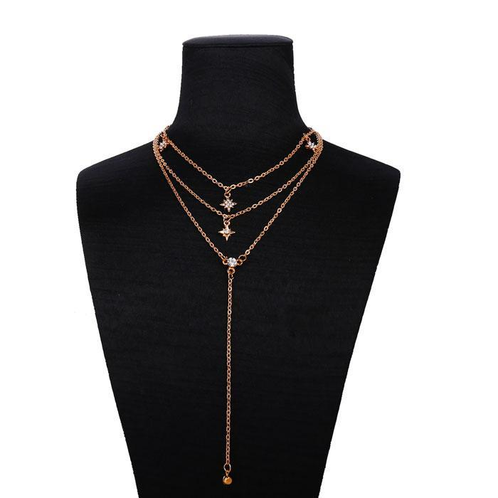Fashion Women's Combination Set Star Necklace Gold Crystal Multi-layer Chain Pendant Necklace