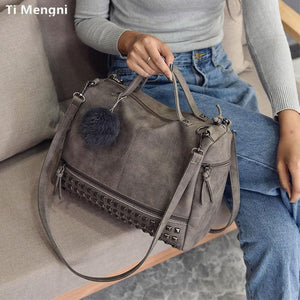 Punk Frosted Rivet Multi-function Handbag Shoulder Bag