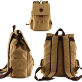 Retro Canvas Flap Drawstring School Backpack Large Men's Khaki Travel Backpack For Big Sale!- cutespree.com