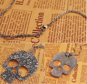 Retro Punk Skull  Printed Pendant& Sweater Necklace For Big Sale!- xikeoo.com