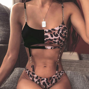 Sexy Sling Summer Swimsuit Black Contrast Color Leopard Chain Bikini