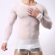 Load image into Gallery viewer, Sexy Round Neck Mesh Slim Man Transparent Long Sleeve Men's Lingerie