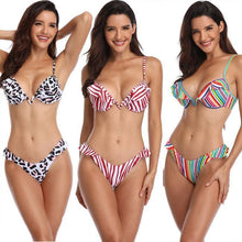 Load image into Gallery viewer, Fashion Leopard Swimsuit Sling Ruffle Stripe Colorful Women Summer Bikinis